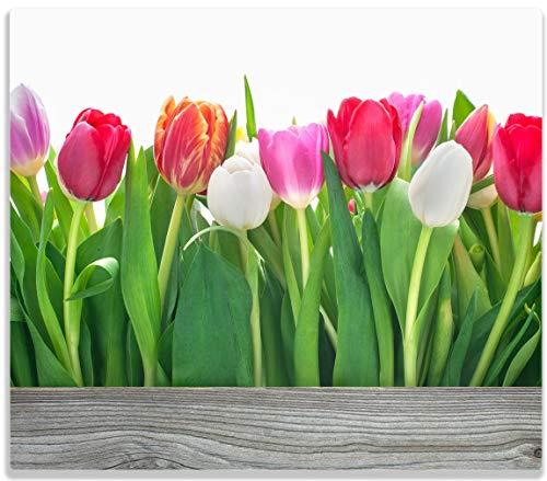 Herdabdeckplatte / Spitzschutz aus Glas, 1-teilig, 60x52cm, für Ceran- und Induktionsherde, Rote, weiße und pinke Tulpen im Frühling