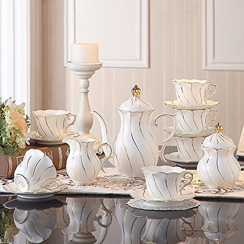 22 Piezas de cerámica, café, té, Juegos de Regalo, Tazas, platillos, azucarero, cafetera, Jarra de Leche con Borde Dorado roscado, Servicio para 6