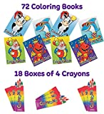 72 Coloring Books For Kids and 72 Crayons (18 Boxes) Coloring Party Pack | Educational Party Favors,...