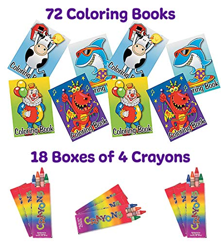 72 Coloring Books and Crayons (72-4 Each Boxes)| Activities for Children. Party Favors and Fun Activity Sets for Car Trips, Spring Break | Inspires Artistic Creativity Quantity