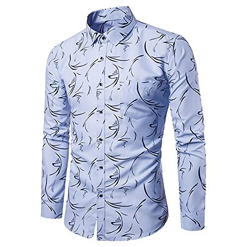 Dasongff Herren Hemden Herren-Langarm Hemd Slim-Fit Einfarbig Regular Blumendruck Button-down Herrenhemden Kurzarm-Hemden Freizeit-Hemd Business Party Freizeit Shirt Langarmhemd für Männer