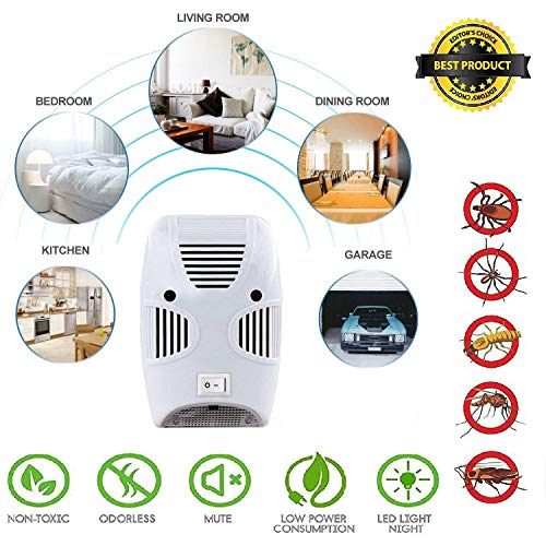 ZIZLY Ultrasonic Pest Repeller Repellent, Home Pest Control Reject Device Non-Toxic Spider Repellent Indoor for Mosquito, Ant, Flea, Rats, Roaches, Cockroaches, Fruit Fly, Rodent, Insect
