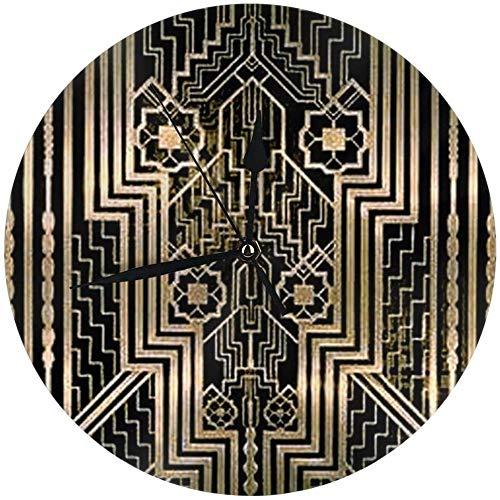 angwenkuanku runde Wanduhr im Jugendstil mit Metallic-Design für Zuhause, Büro, Schule, Deko, 24,9...