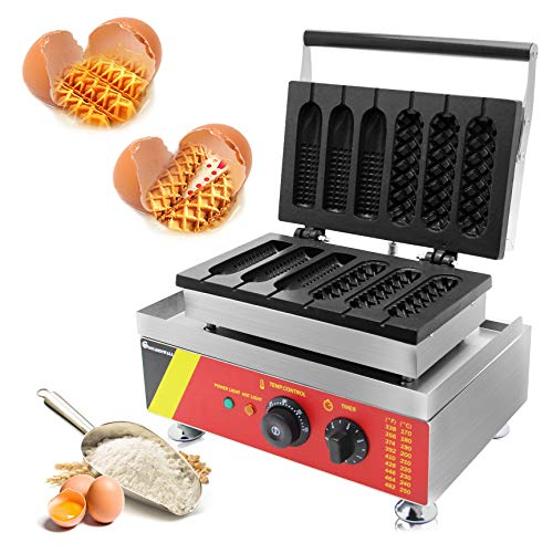 CGOLDENWALL NP-528 Kommerzielle Antihaft-Waffelmaschine Hot Dog Waffeleisen 6 Stück mit Digitalem Thermostat