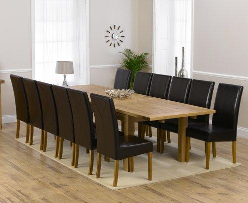 Corona in rovere mobili extra large 12Rustique sedie e tavolo da pranzo allungabile