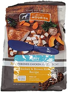 SIMPLY NOURISH Puppy Dry Dog Food Chicken & Brown Rice, 5 lbs and Especiales Cosas Mixing Spatula