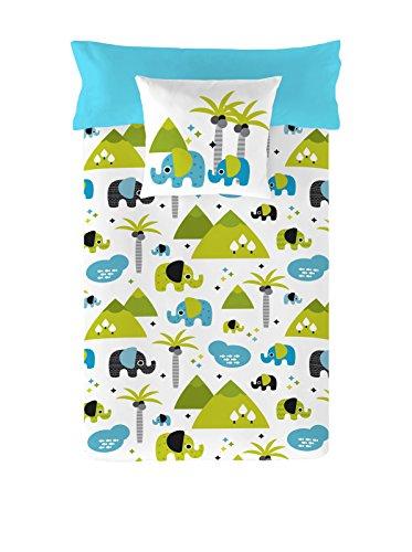 NATURALS Elephant Kids, algodón, Blanco/Azul, Cama 90 (150 x 220 cm + 45 x 90 cm)