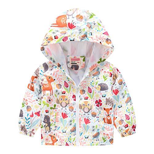 MRULIC Kinder Mädchen Jungen Floral Bedruckter Frühling mit Kapuze Licht Mantel Reißverschluss Jacke Tops Sonnenschutz Kleidung 1-6 Jahre(C-Marineblau,80-90CM)