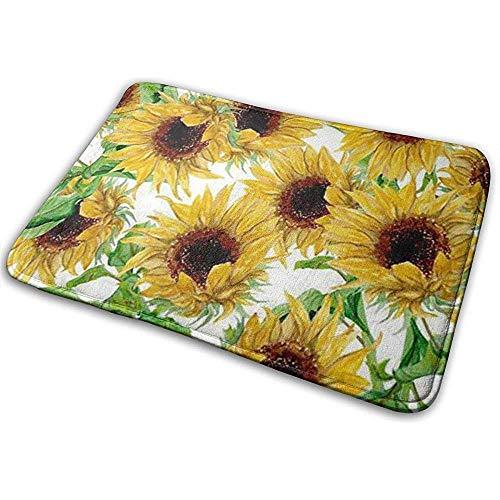 Gcaibai Gelbe Sonnenblumen Badematten rutschfeste, weiche, saugfähige Badteppiche Bodenplastikmatte für Küchen- und Badezimmerböden 40x60cm Weiß