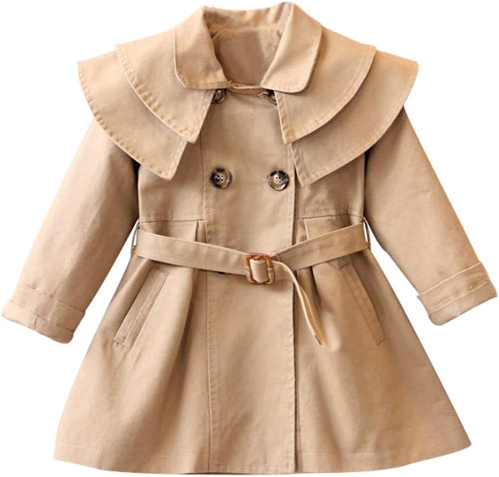 Toddler Baby Ranking integrated 1st place Girls Albuquerque Mall Trench Coat with Lapel J Belt Breasted Double