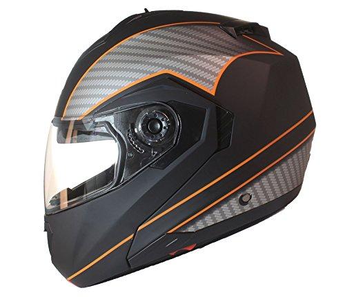 Qtech Casco Modular para Motocicleta con Integral Doble Visera - Negro Mate/Naranja - L (59-60cm)