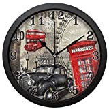 154ytujbgvas Vintage London Big Ben Red Phone Booth Round Wall Clock, Silent Non Ticking Art Painting Clock for Kids Girls Children Bedroom Living Room School Home Decor 12in