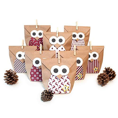Adventskalender zum Befüllen Eule rot 24 Kraftpapiertüten Geschenktüten Weihnachten, Weihnachtskalender DIY Bastelset inkl. Aufkleber, Klammern von pajoma