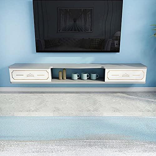 Mueble TV Mesa Flotante,Unidad Entretenimiento Multifuncional para Montaje en Pared,Unidad TV,Estante Almacenamiento Multimedia para Sala de Estar,Dormitorio/B/Los 140CM