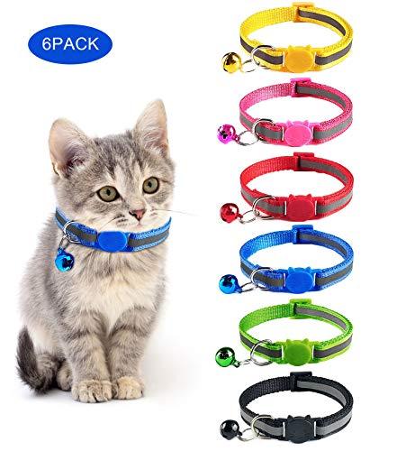 KEREDA Katzenhalsband mit Glöckchen, 6 Stück Reflektierendes Katzenhalsband mit Sicherheitsverschluss, Verstellbar Nylon Halsbänder für Katzen, Kleine Hunde