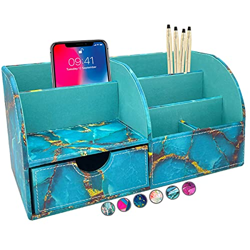 French KOKO Large PU Leather Desk Organizer Cute Pen Holder Office Teal Marble Organizers Table Top...