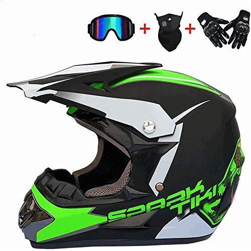 WYWZDQ - Casco de moto todoterreno, casco de ciudad, casco de moto, todoterreno, personalidad creativa, casco de bicicleta de montaña de moto, guantes y gafas (4 conjuntos) verde fluorescente (S)