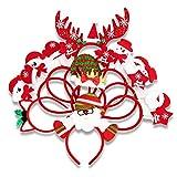GoHist 10 Bandeaux de Noël Serre-tête de Noël, père Noël, Bonhomme de Neige, Renne, Bande de Cheveux pour cerceaux de Sapin de Noël, Assortiment de Chapeaux pour la décoration de fête de Noël