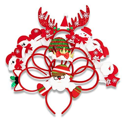 GoHist 10 Stückt Set Weihnachts Haarreif mit verschiedenen Designs, Haarschmuck für Weihnachtsfeiern Cosplay Haarschmuck Dekoration (Für Kinder & Erwachsene)