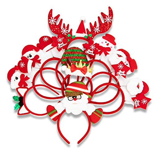 Sewooo 10 Cerchietti Natalizio Per Tutte Le Età! - Cerchietto Ottimi Per Feste Di Natale, Decorazioni, Regalini Da Festa E Altro Ancora,Ideale Per Adulti E Bambini
