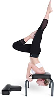 YOLEO Headstand Bench-Yoga Inversion Chair-Headstand Stool-Ideal for Workout, Fitness and Gym -Stress Relieve and Body Building- Steel Frame Black