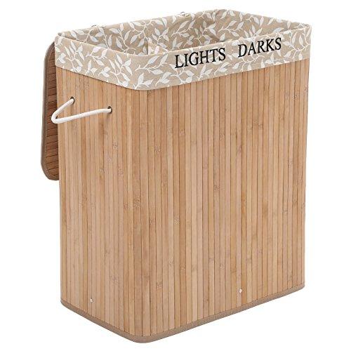 SONGMICS - Cesta de Ropa Sucia de bambú, con Revestimiento de Flores (52 x 32 x 62,5 cm)