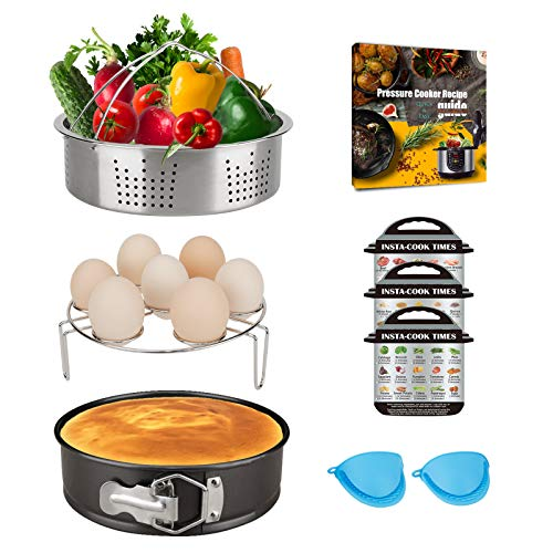 Pressure Cooker Accessories Compatible with 5,6,8Qt Instant Pot with Steamer Basket, Egg Steamer Rack, Non-Stick Springform Pan, Magnetic Cheat Sheets, Recipe Book