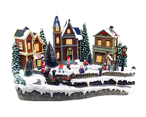 Christmas Village Skating Town | Animated Pre-lit Musical Winter Snow Village With 4 Moving Skaters | Perfect Addition to Your Christmas Indoor Decorations & Christmas Village Displays