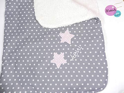 Babydecke Stern mit Namen grau, Sterne, Plüsch
