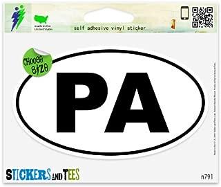 Pennsylvania PA White State Oval Vinyl Car Bumper Window Sticker 3