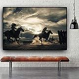 ganlanshu Pintura sin Marco Caballero y Caballo Corriendo Cartel de Lienzo escandinavo Imagen de Arte de Pared decoración del hogar ZGQ2856 60X90cm