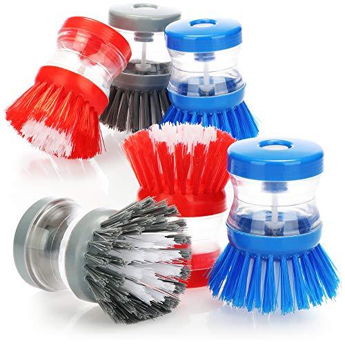com-four Cepillo para Fregar 6X con dispensador de detergente - Cepillo para Fregar con Recipiente para lavavajillas Integrado [la selección varía] (06 Piezas - Azul/Gris/Rojo)