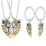 Yee Yeung 1 Set Thelma and Louise Revolver Charm Keychain Broken Heart-Shaped Puzzle BFF Necklace(Gold)