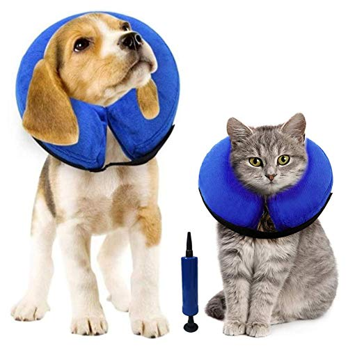 Rkicemoy Inflatable Dog Cone Neck Collar for After Surgery, Soft Dog Cones Protective Pet Recovery Collar, Dogs Cats e-Collar with Inflator, Prevent Pet from Lick Touch Wounds (1 Collar + 1 Pump)