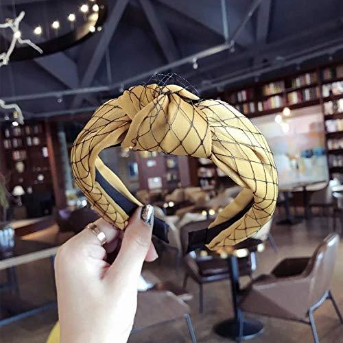 Brede rand hoofdband_Nieuwe eenvoudige kant mesh midden twist knoop breedgerande hoofdband haarband dames haaraccessoires
