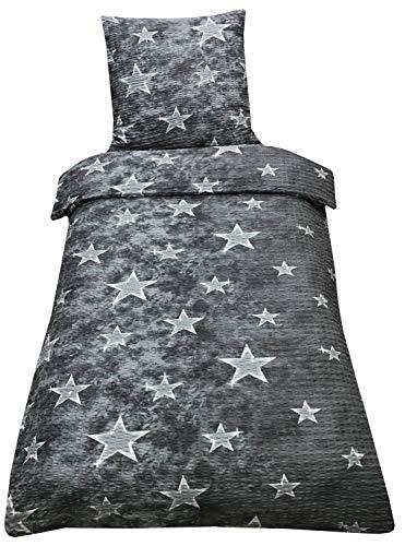 Leonado Vicenti Bettwäsche Mikrofaser Seersucker 135x200 cm 80x80 cm in verschiedenen Designs mit Reißverschluss, Muster:4, Größe Amazon:2-teilig.135 x 200 cm