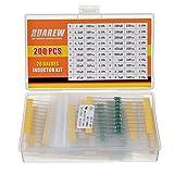 HUAREW 20 valori 200 pezzi induttori AL0410 1 uH-4.7 mH 1/2 W in linea codice colore DIP induttori kit di classificazione