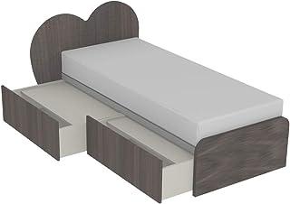 MOBILFINO CAMERETTE Cupido C Lit avec tête de lit à double tiroirs indépendants avec roues et fermetures avec couvercle, s...