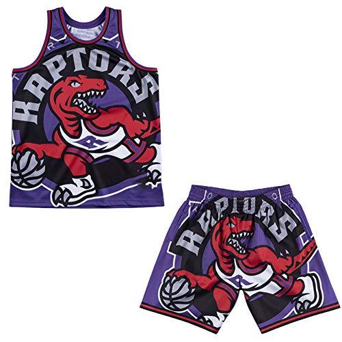 Conjunto de Camiseta de Baloncesto Raptors Vintage Big Face para Hombre, Pantalones Cortos de Baloncesto Camiseta de Verano de Secado rápido de Malla Deportiva Hip-Hop-Set-XL