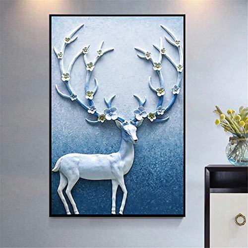 Pintura de Diamante 5D completo Kit ciervo,DIY Diamond painting adulto/niño punto de cruz Crystal Rhinestone bordado art manualidades para decor de paredes regalos Round Drill,80x100cm