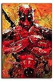 Megiri Print Art Decor Superhéroe Deadpool pintura abstracta pared decoración de pared para dormitorio con diseño de flores, lona, Sin marco., 20'x28'