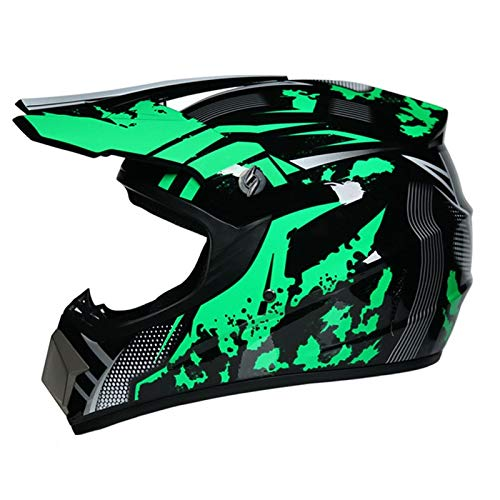 Motorcycle Helmet (4 Piece Set) Mask, Goggles, Gloves, PRO Adult MX Off-Road Helmet, Youth ATV Full Coverage Helmet, Extreme Skydiving Downhill Protective Helmet,DOT Approved
