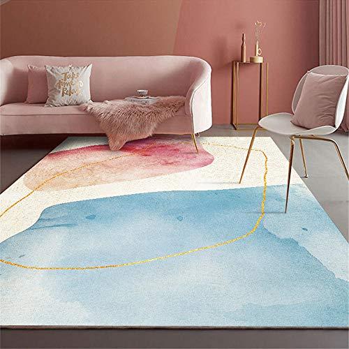 Alfombra de salón Azul Beige Suave y Lavable sin deformación. Cuadros cabecero Cama Matrimonio alfombras Exterior Jardin alfombras en Rollo