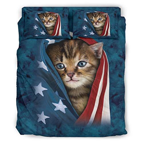 c-at und Ameri-ca Flag - Juego de cama (228 x 264 cm), diseño de bandera estadounidense, color blanco