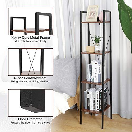 Industrial Ladder Shelf, 4-Tier Bookshelf, Plant Flower Stand, Multipurpose Organizer Rack for Home, Office, Living Room, Balcony, Bedroom by Pipishell