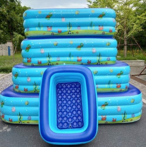 OKOUNOKO Pool House Bañera para Niños Adultos Verano Inflable Piscina Rectangular Al Aire Libre Piscina Rectangular Piscinapez Azul De Dibujos Animados Coloridos, 180X140X60Cm