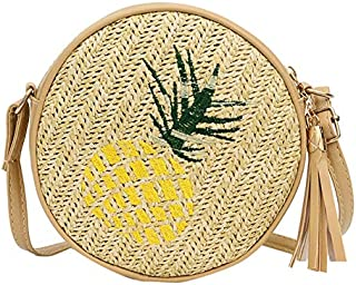 Docooler Women Round Straw Shoulder Bag Crossbody Bag Leaf Pineapple Embroidered Vintage Holiday Summer Beach Casual Small Bag