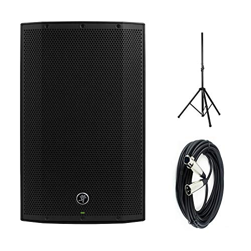 """Mackie Thump15BST Boosted -1300W 15"""" Advanced Powered Loudspeakers with Steel Speaker Stand and an XLR-XLR Cable"""