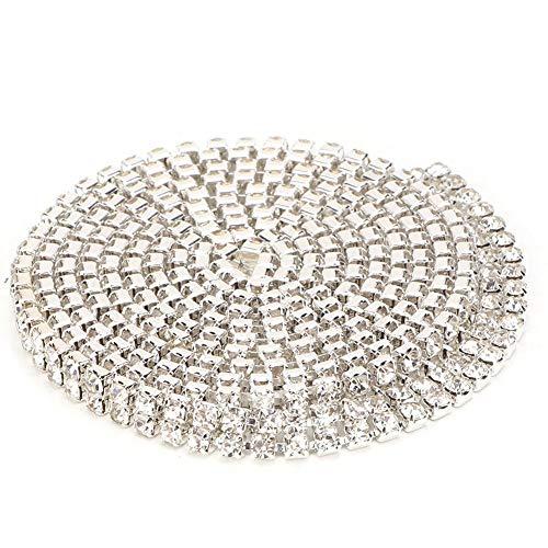 Cikonielf Kristall Kronleuchter Perlenkette Kristall Strass Kette Glas Kristall Perlenkette Girlande Mehrere Optionen für(4mmSILVER2ROWS)