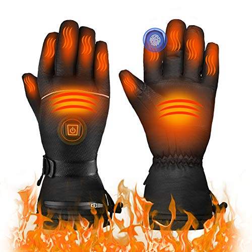 TXDUE [2020 Newest Heated Gloves, 3 Heating Levels, Up to 8hrs Warmth, Waterproof Breathable Winter Gloves, Touchscreen Ski Motorcycle Hiking Cycling Gloves for Men, Women